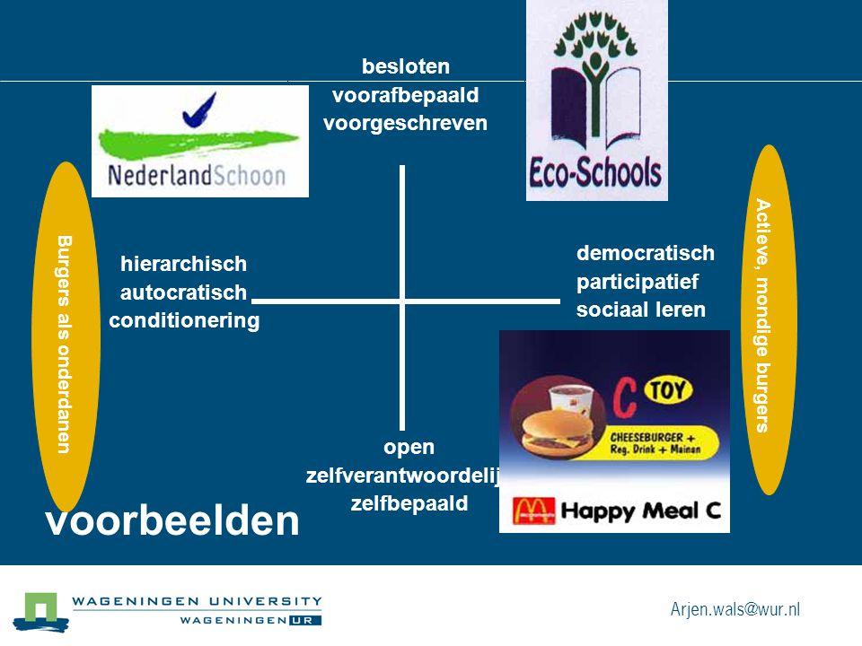besloten voorafbepaald voorgeschreven hierarchisch autocratisch conditionering democratisch participatief sociaal leren open zelfverantwoordelijk zelfbepaald Burgers als onderdanen Actieve, mondige burgers voorbeelden Arjen.wals@wur.nl