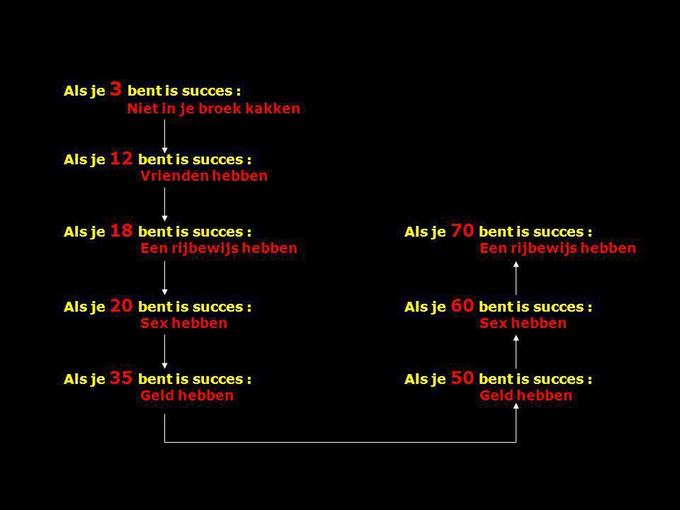 Als je 3 bent is succes : Niet in je broek kakken Als je 12 bent is succes : Vrienden hebben Als je 18 bent is succes : Een rijbewijs hebben Als je 20 bent is succes : Sex hebben Als je 35 bent is succes : Geld hebben Als je 70 bent is succes : Een rijbewijs hebben Als je 60 bent is succes : Sex hebben Als je 50 bent is succes : Geld hebben