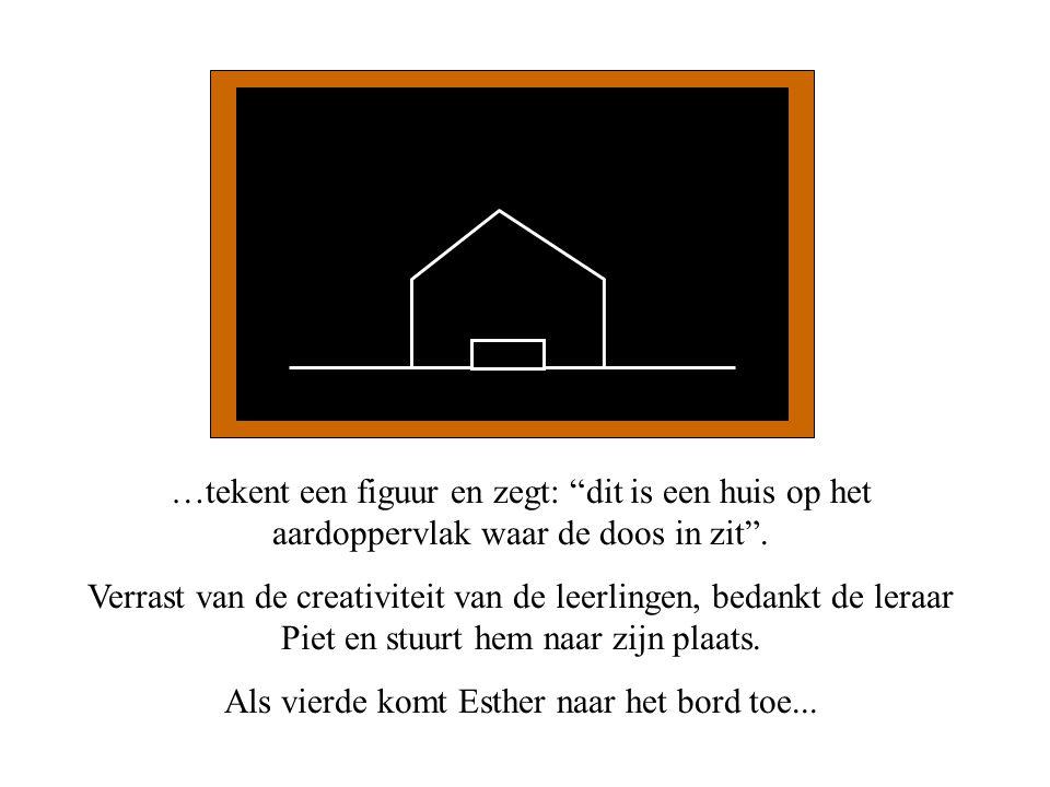 """…tekent een figuur en zegt: """"dit is een huis op het aardoppervlak waar de doos in zit"""". Verrast van de creativiteit van de leerlingen, bedankt de lera"""