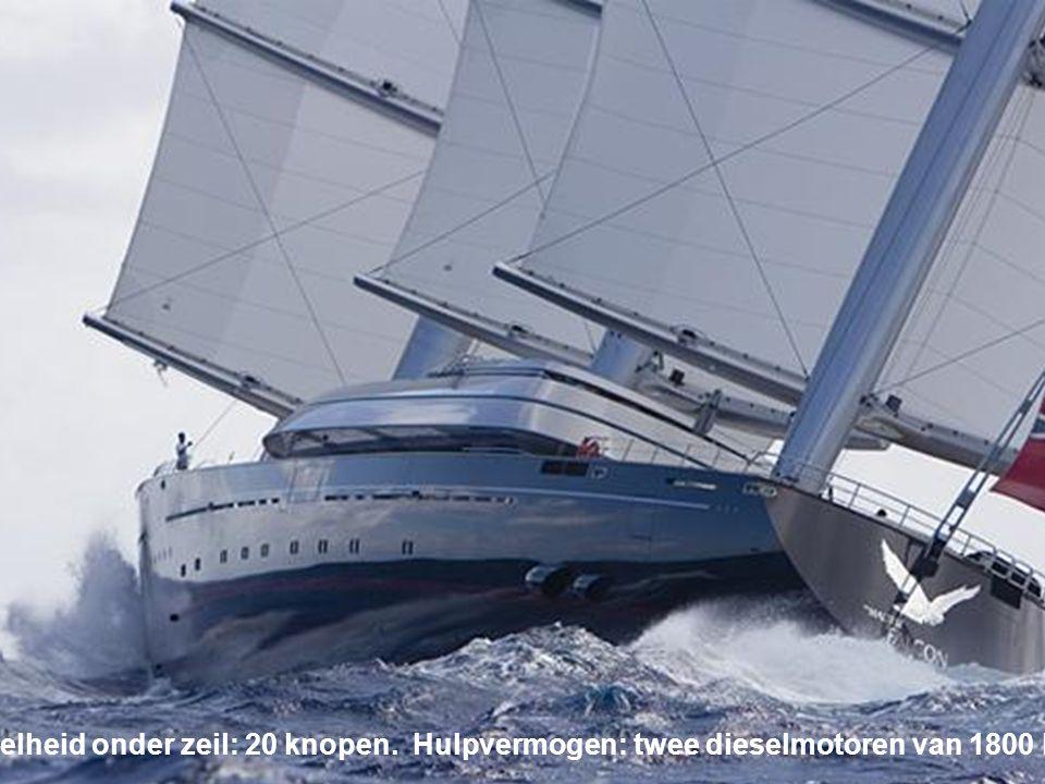 Maltese Falcon Een jacht van 88 m, het tweede grootste privézeiljacht ter wereld.