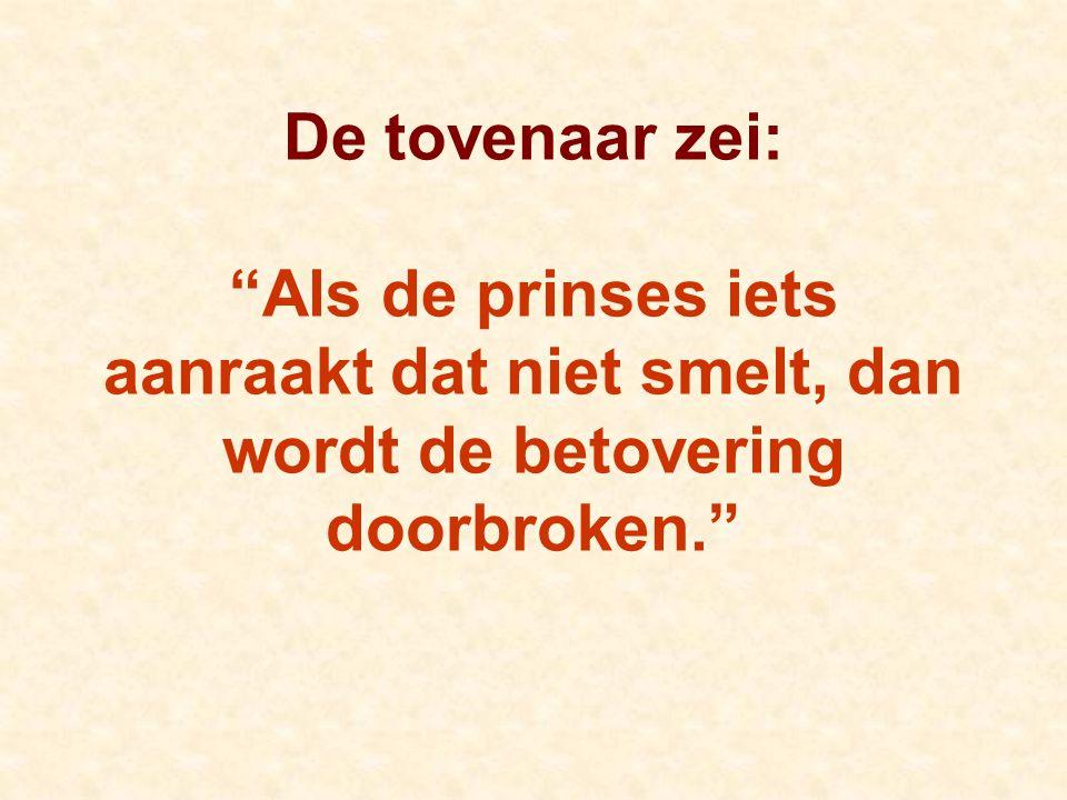 De tovenaar zei: Als de prinses iets aanraakt dat niet smelt, dan wordt de betovering doorbroken.