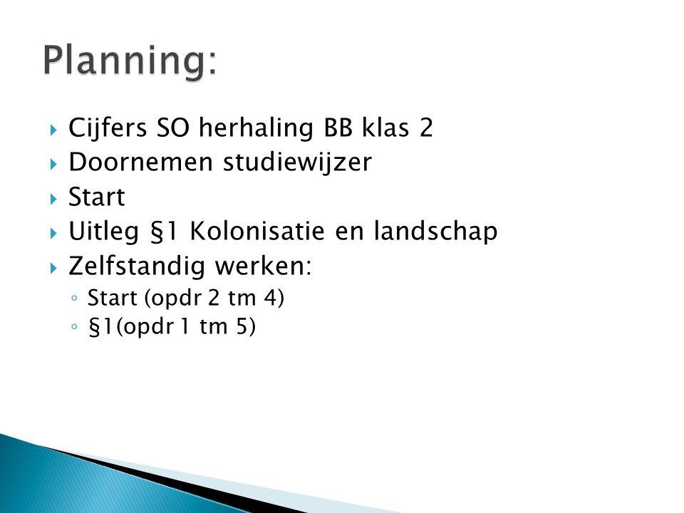  Cijfers SO herhaling BB klas 2  Doornemen studiewijzer  Start  Uitleg §1 Kolonisatie en landschap  Zelfstandig werken: ◦ Start (opdr 2 tm 4) ◦ §