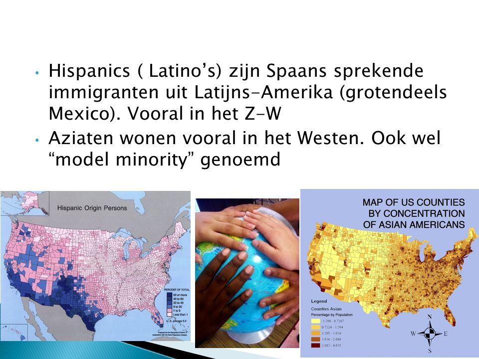 Hispanics ( Latino's) zijn Spaans sprekende immigranten uit Latijns-Amerika (grotendeels Mexico).