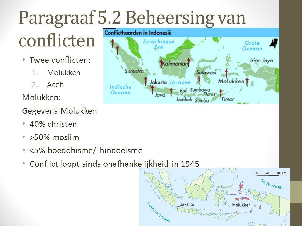 Geschiedenis conflict: Molukken strijden voor eigen staat (RMS = Republik Maluku Seletan) Strijd voor onafhankelijke staat noem je Separatisme (afscheiding) Begin conflict: onafhankelijkheidsoorlog Indonesië (vandaar veel Molukkers in Nederland).