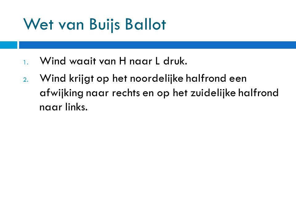 Wet van Buijs Ballot 1. Wind waait van H naar L druk. 2. Wind krijgt op het noordelijke halfrond een afwijking naar rechts en op het zuidelijke halfro