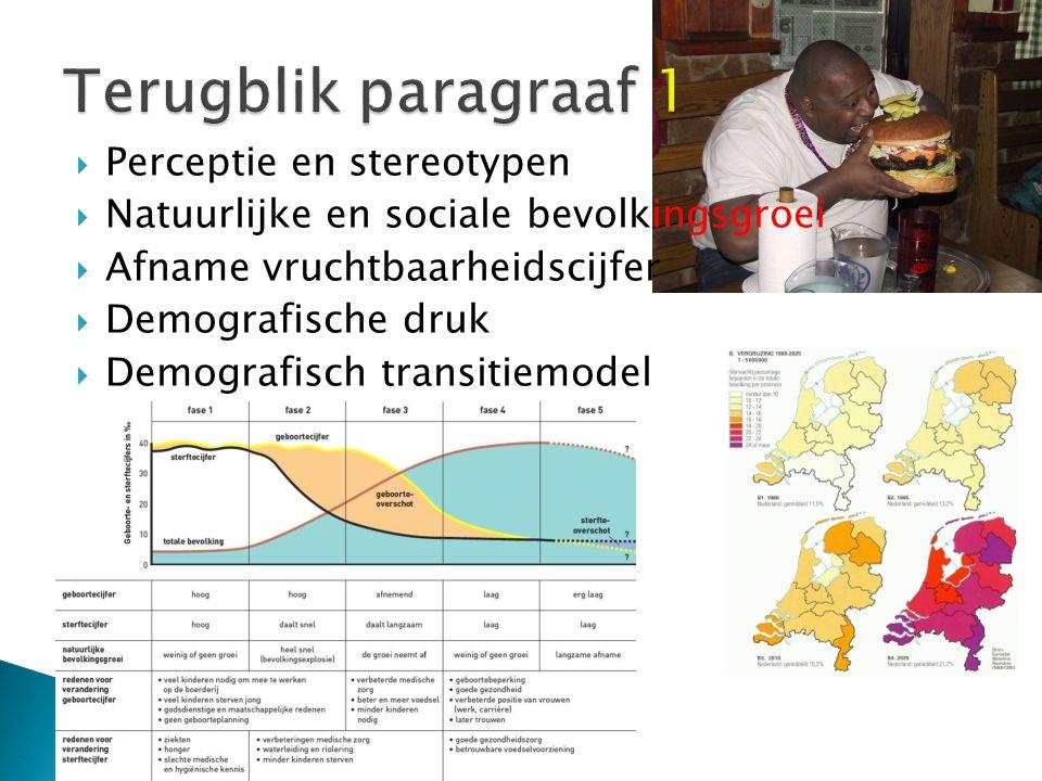  Perceptie en stereotypen  Natuurlijke en sociale bevolkingsgroei  Afname vruchtbaarheidscijfer  Demografische druk  Demografisch transitiemodel