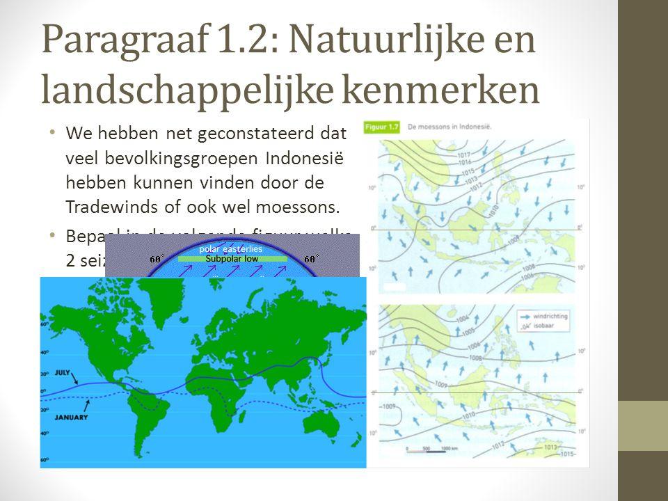 Paragraaf 1.2: Natuurlijke en landschappelijke kenmerken We hebben net geconstateerd dat veel bevolkingsgroepen Indonesië hebben kunnen vinden door de