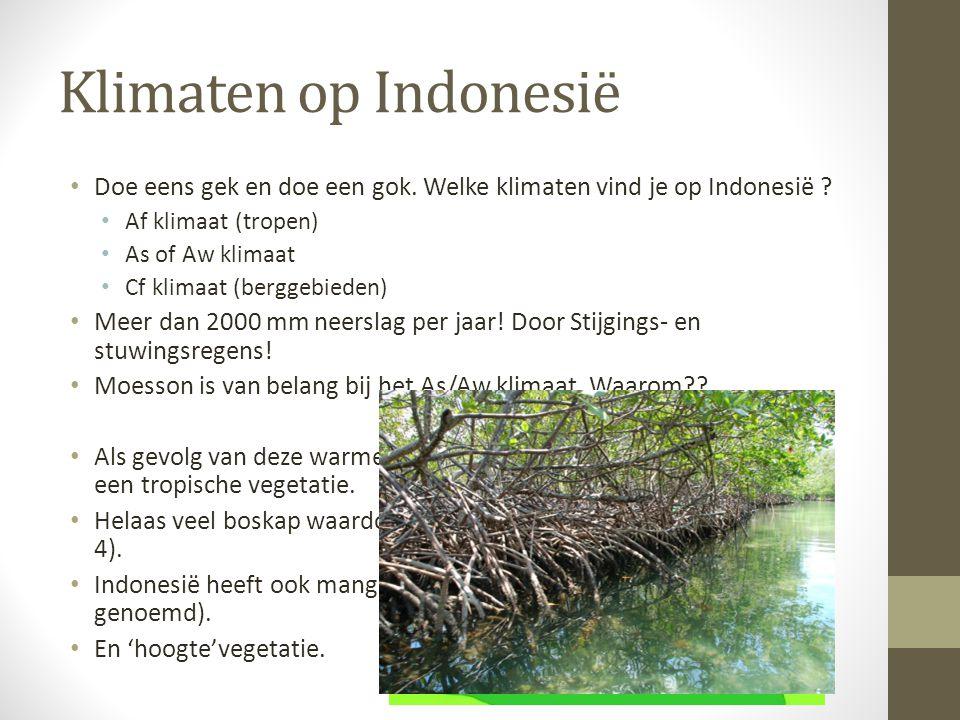 Klimaten op Indonesië Doe eens gek en doe een gok. Welke klimaten vind je op Indonesië ? Af klimaat (tropen) As of Aw klimaat Cf klimaat (berggebieden
