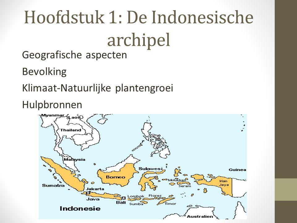Hoofdstuk 1: De Indonesische archipel Geografische aspecten Bevolking Klimaat-Natuurlijke plantengroei Hulpbronnen