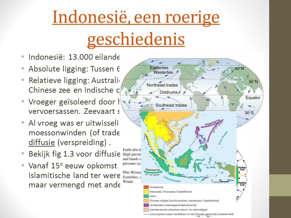 Indonesië, een roerige geschiedenis Indonesië: 13.000 eilanden Absolute ligging: Tussen 6 NB en 11 ZB en 95 OL en 141 OL Relatieve ligging: Australië,