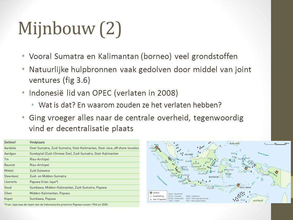 Mijnbouw (2) Vooral Sumatra en Kalimantan (borneo) veel grondstoffen Natuurlijke hulpbronnen vaak gedolven door middel van joint ventures (fig 3.6) In