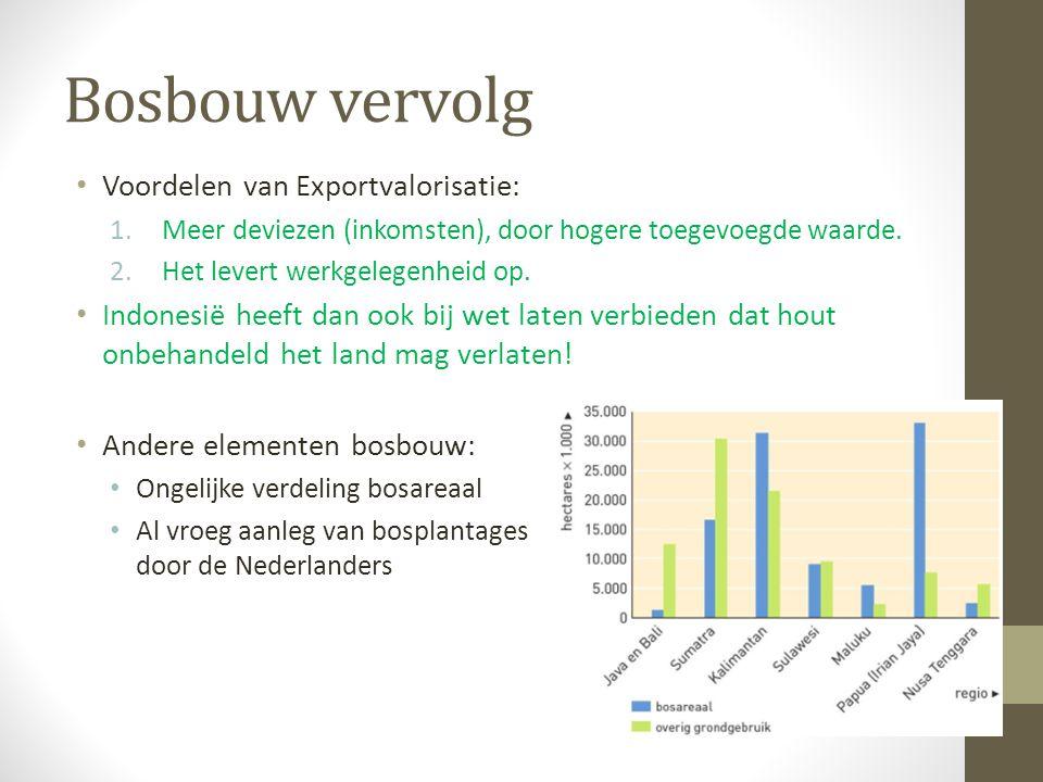 Bosbouw vervolg Voordelen van Exportvalorisatie: 1.Meer deviezen (inkomsten), door hogere toegevoegde waarde. 2.Het levert werkgelegenheid op. Indones