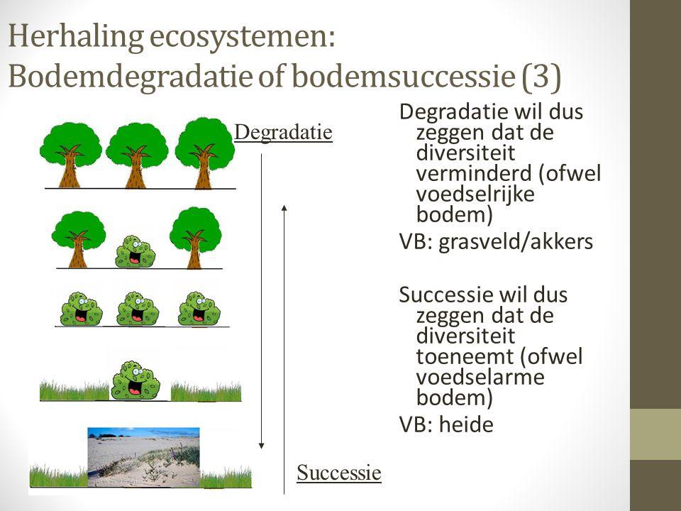 Herhaling ecosystemen: Bodemdegradatie of bodemsuccessie (3) Degradatie wil dus zeggen dat de diversiteit verminderd (ofwel voedselrijke bodem) VB: gr