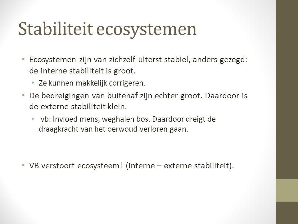 Stabiliteit ecosystemen Ecosystemen zijn van zichzelf uiterst stabiel, anders gezegd: de interne stabiliteit is groot. Ze kunnen makkelijk corrigeren.