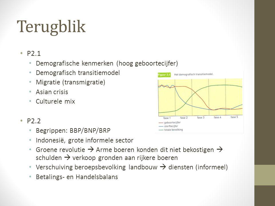 Terugblik P2.1 Demografische kenmerken (hoog geboortecijfer) Demografisch transitiemodel Migratie (transmigratie) Asian crisis Culturele mix P2.2 Begr