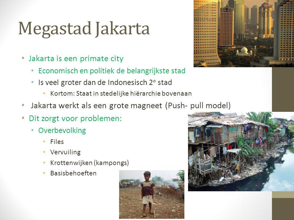 Megastad Jakarta Jakarta is een primate city Economisch en politiek de belangrijkste stad Is veel groter dan de Indonesisch 2 e stad Kortom: Staat in stedelijke hiërarchie bovenaan Jakarta werkt als een grote magneet (Push- pull model) Dit zorgt voor problemen: Overbevolking Files Vervuiling Krottenwijken (kampongs) Basisbehoeften
