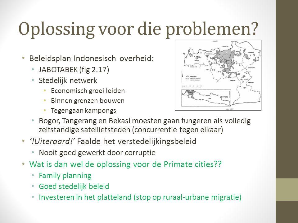 Oplossing voor die problemen? Beleidsplan Indonesisch overheid: JABOTABEK (fig 2.17) Stedelijk netwerk Economisch groei leiden Binnen grenzen bouwen T