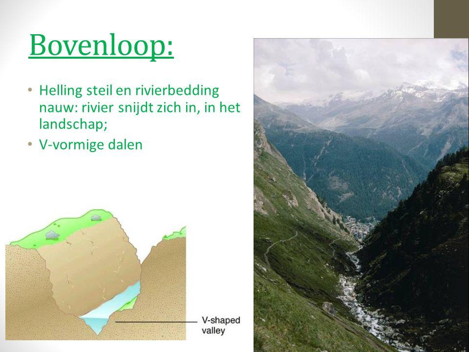 Bovenloop: Helling steil en rivierbedding nauw: rivier snijdt zich in, in het landschap; V-vormige dalen