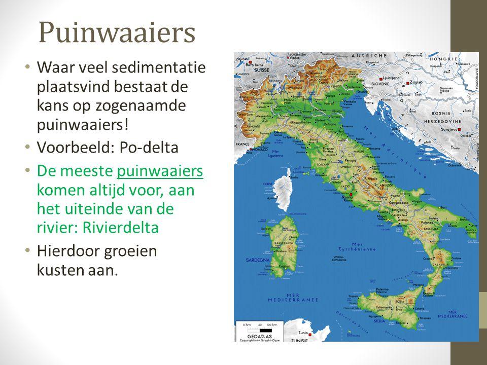 Puinwaaiers Waar veel sedimentatie plaatsvind bestaat de kans op zogenaamde puinwaaiers! Voorbeeld: Po-delta De meeste puinwaaiers komen altijd voor,