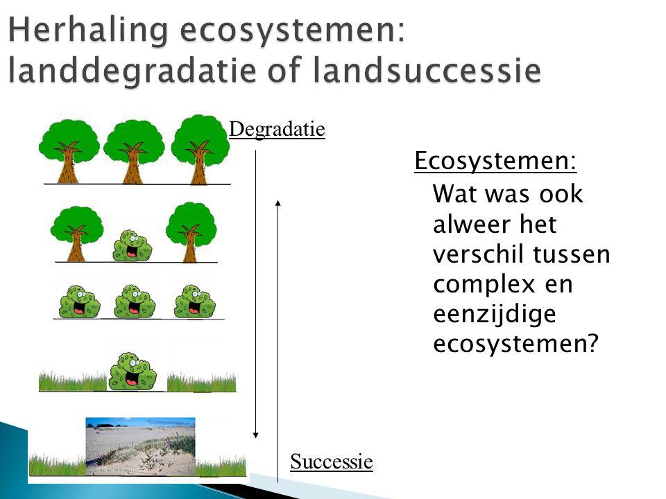 Ecosystemen: Wat was ook alweer het verschil tussen complex en eenzijdige ecosystemen? Successie Degradatie
