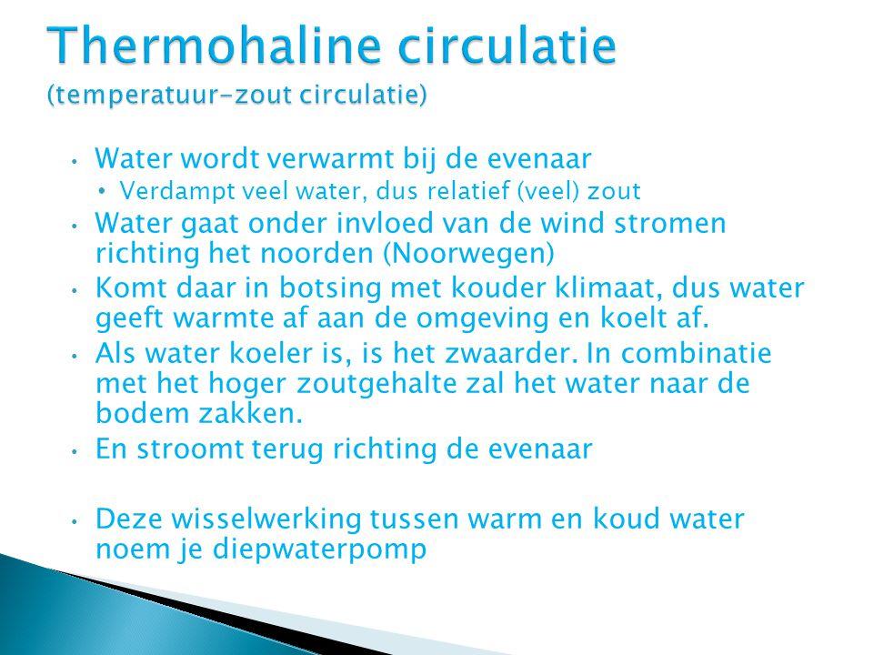 Water wordt verwarmt bij de evenaar Verdampt veel water, dus relatief (veel) zout Water gaat onder invloed van de wind stromen richting het noorden (N