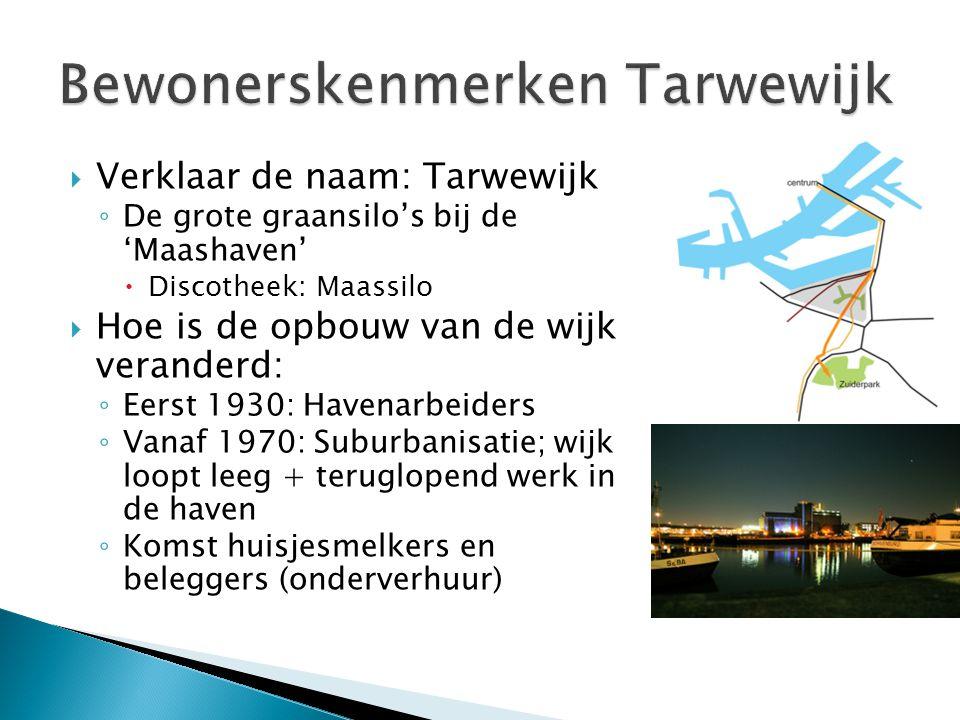  Verklaar de naam: Tarwewijk ◦ De grote graansilo's bij de 'Maashaven'  Discotheek: Maassilo  Hoe is de opbouw van de wijk veranderd: ◦ Eerst 1930: