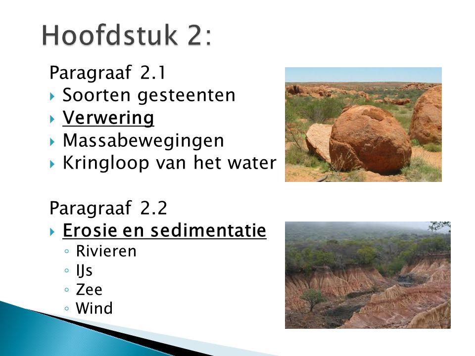 Paragraaf 2.1  Soorten gesteenten  Verwering  Massabewegingen  Kringloop van het water Paragraaf 2.2  Erosie en sedimentatie ◦ Rivieren ◦ IJs ◦ Z