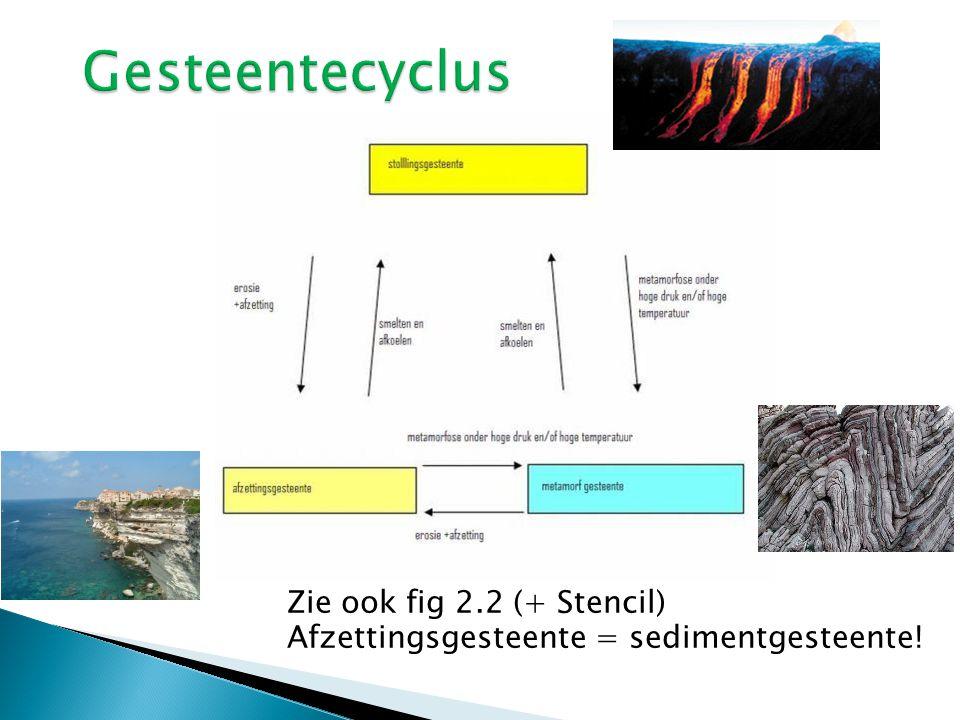 Zie ook fig 2.2 (+ Stencil) Afzettingsgesteente = sedimentgesteente!