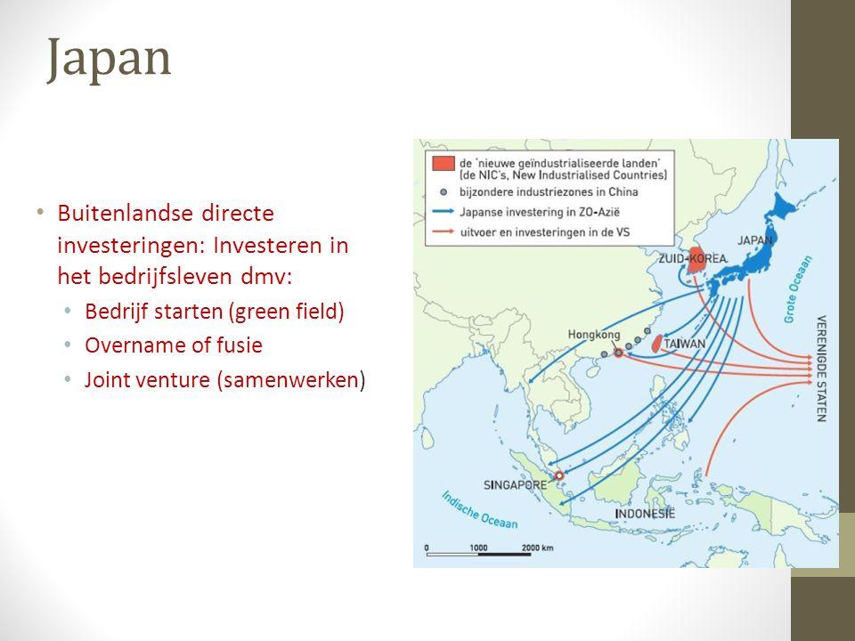 Japan Buitenlandse directe investeringen: Investeren in het bedrijfsleven dmv: Bedrijf starten (green field) Overname of fusie Joint venture (samenwer