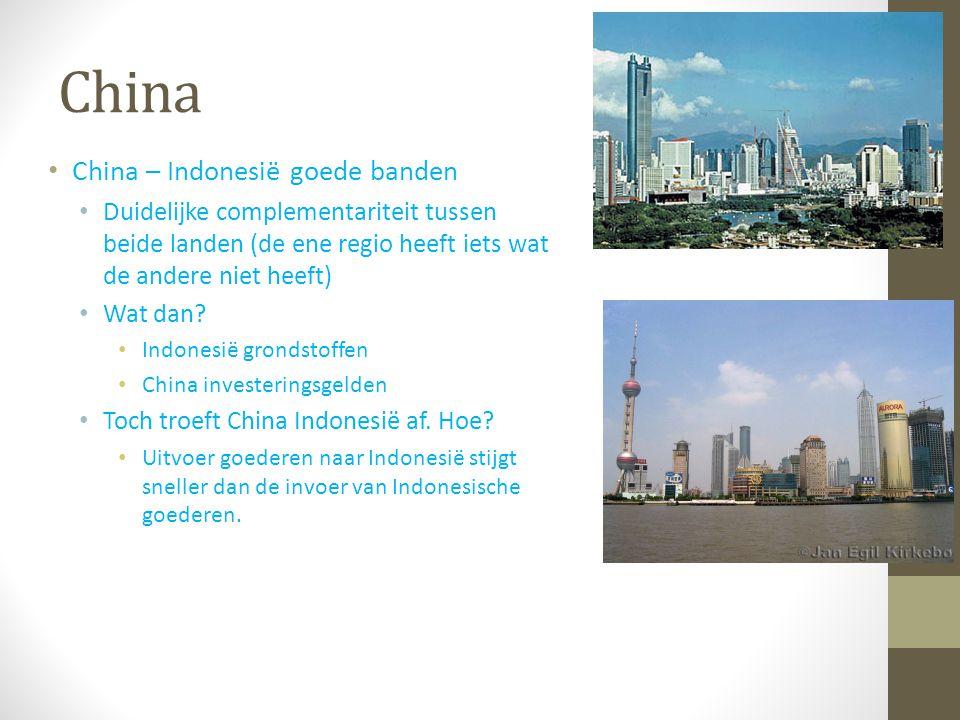 China China – Indonesië goede banden Duidelijke complementariteit tussen beide landen (de ene regio heeft iets wat de andere niet heeft) Wat dan? Indo