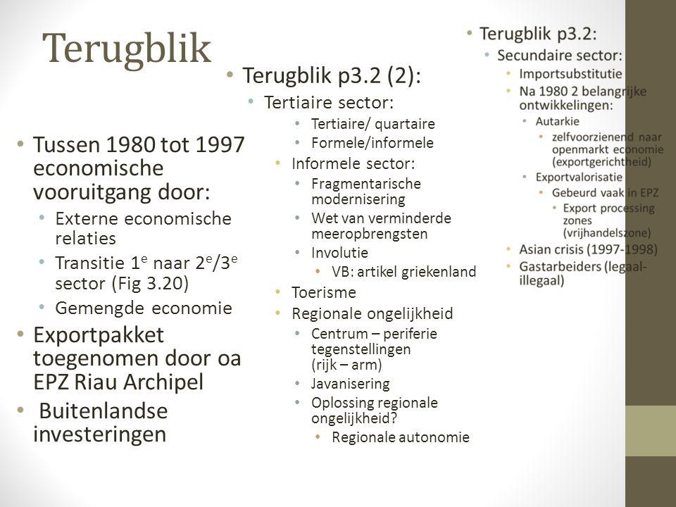 Terugblik Tussen 1980 tot 1997 economische vooruitgang door: Externe economische relaties Transitie 1 e naar 2 e /3 e sector (Fig 3.20) Gemengde econo