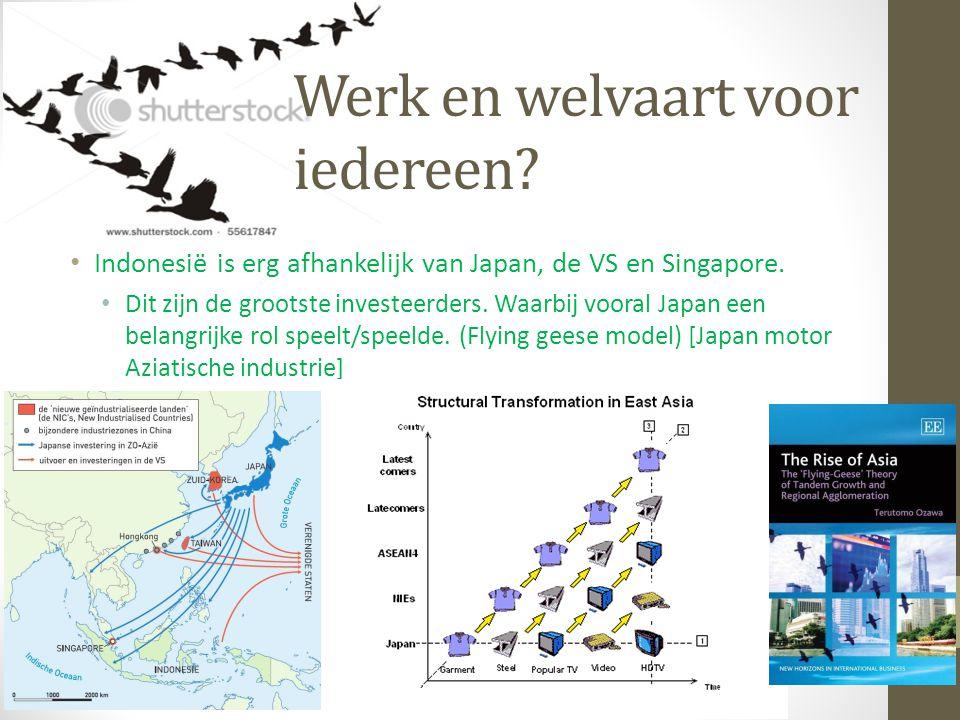 Werk en welvaart voor iedereen? Indonesië is erg afhankelijk van Japan, de VS en Singapore. Dit zijn de grootste investeerders. Waarbij vooral Japan e