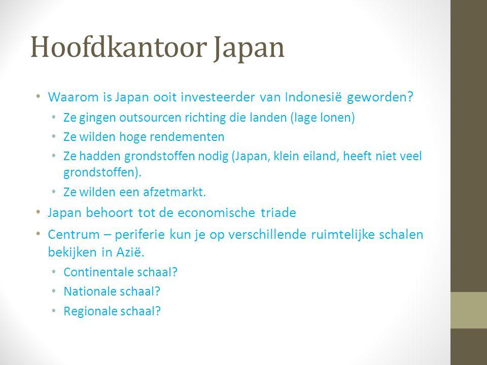 Hoofdkantoor Japan Waarom is Japan ooit investeerder van Indonesië geworden? Ze gingen outsourcen richting die landen (lage lonen) Ze wilden hoge rend