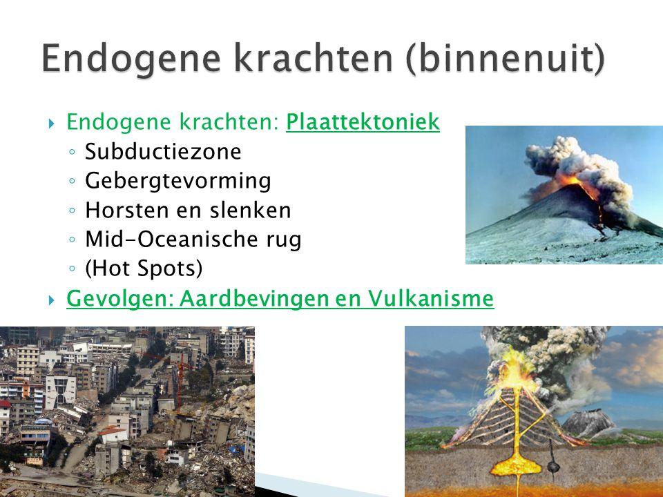  Endogene krachten: Plaattektoniek ◦ Subductiezone ◦ Gebergtevorming ◦ Horsten en slenken ◦ Mid-Oceanische rug ◦ (Hot Spots)  Gevolgen: Aardbevingen en Vulkanisme