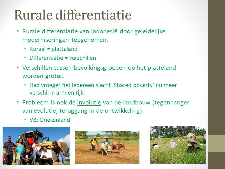Rurale differentiatie Rurale differentiatie van Indonesië door geleidelijke moderniseringen toegenomen. Ruraal = platteland Differentiatie = verschill