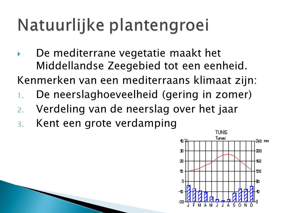  De mediterrane vegetatie maakt het Middellandse Zeegebied tot een eenheid. Kenmerken van een mediterraans klimaat zijn: 1. De neerslaghoeveelheid (g