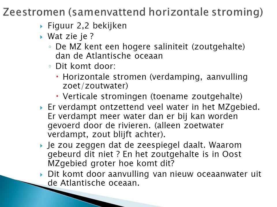  Figuur 2,2 bekijken  Wat zie je ? ◦ De MZ kent een hogere saliniteit (zoutgehalte) dan de Atlantische oceaan ◦ Dit komt door:  Horizontale stromen