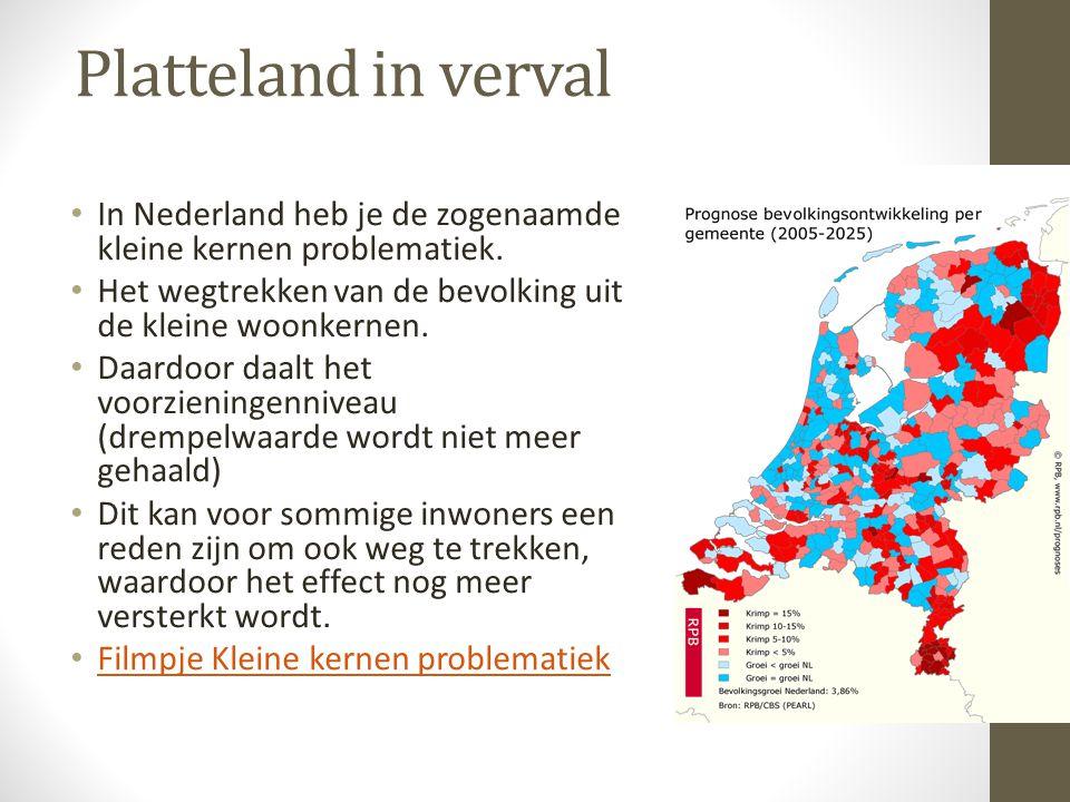 In Nederland heb je de zogenaamde kleine kernen problematiek. Het wegtrekken van de bevolking uit de kleine woonkernen. Daardoor daalt het voorziening