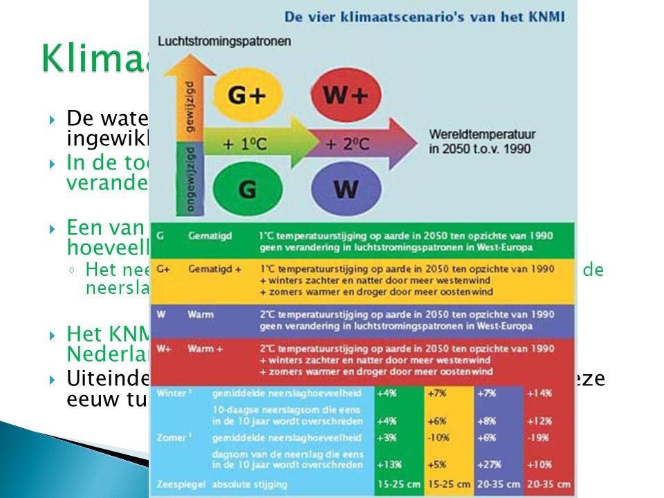  De waterhuishouding van Nederland is erg ingewikkeld.  In de toekomst zal de waterhuishouding gaan veranderen met het oog op klimaatverandering. 