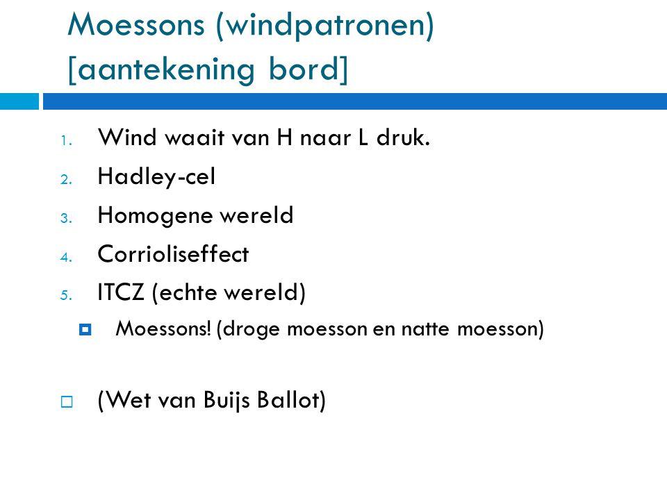 Moessons (windpatronen) [aantekening bord] 1.Wind waait van H naar L druk.