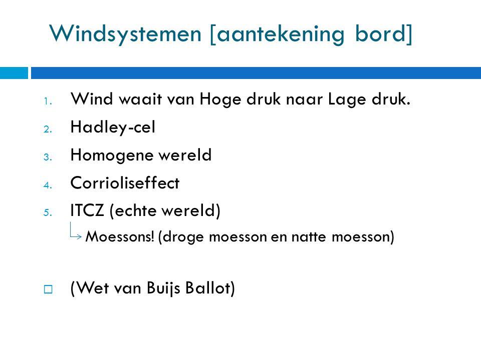 Windsystemen [aantekening bord] 1.Wind waait van Hoge druk naar Lage druk.