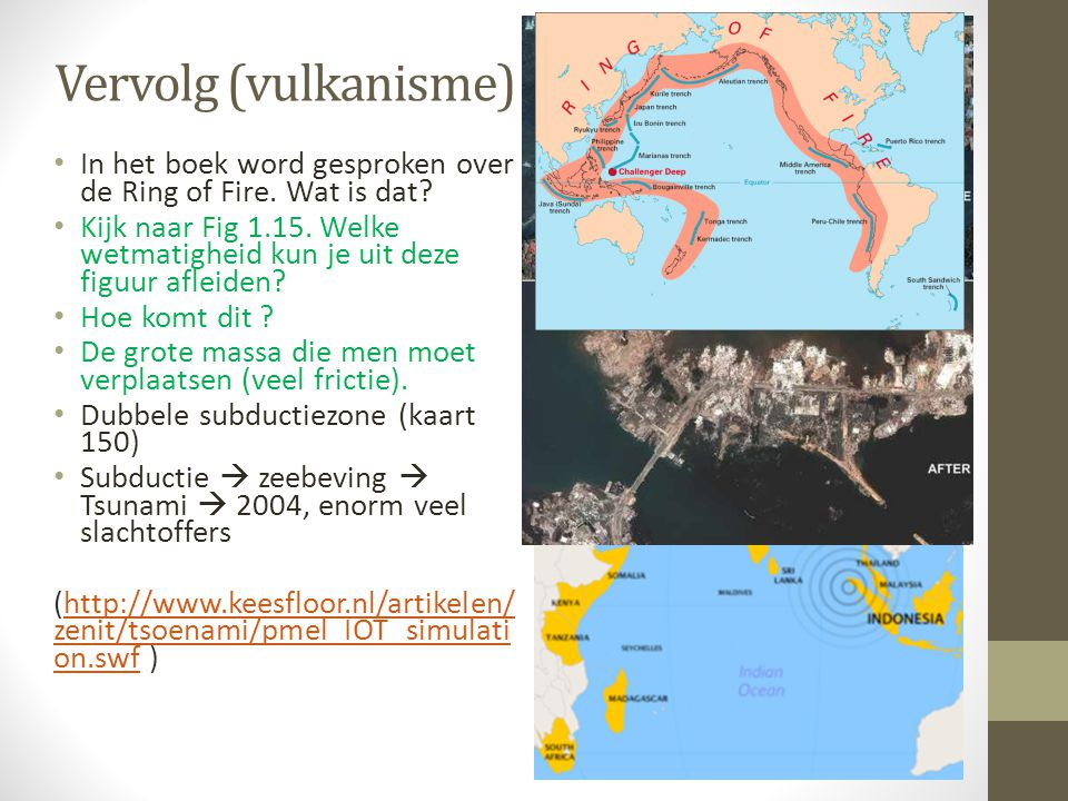 Vervolg (vulkanisme) In het boek word gesproken over de Ring of Fire. Wat is dat? Kijk naar Fig 1.15. Welke wetmatigheid kun je uit deze figuur afleid