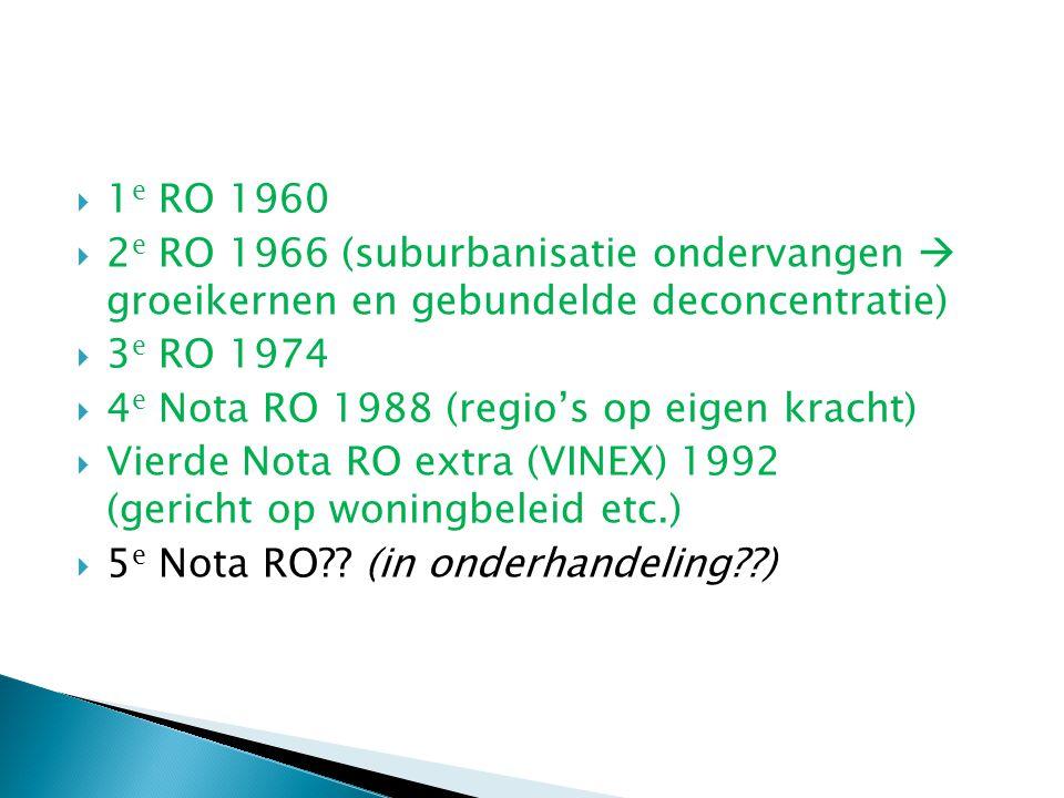  1 e RO 1960  2 e RO 1966 (suburbanisatie ondervangen  groeikernen en gebundelde deconcentratie)  3 e RO 1974  4 e Nota RO 1988 (regio's op eigen kracht)  Vierde Nota RO extra (VINEX) 1992 (gericht op woningbeleid etc.)  5 e Nota RO?.