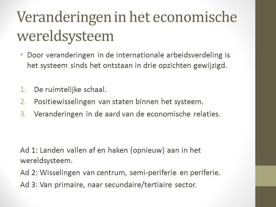 Veranderingen in het economische wereldsysteem Door veranderingen in de internationale arbeidsverdeling is het systeem sinds het ontstaan in drie opzichten gewijzigd.