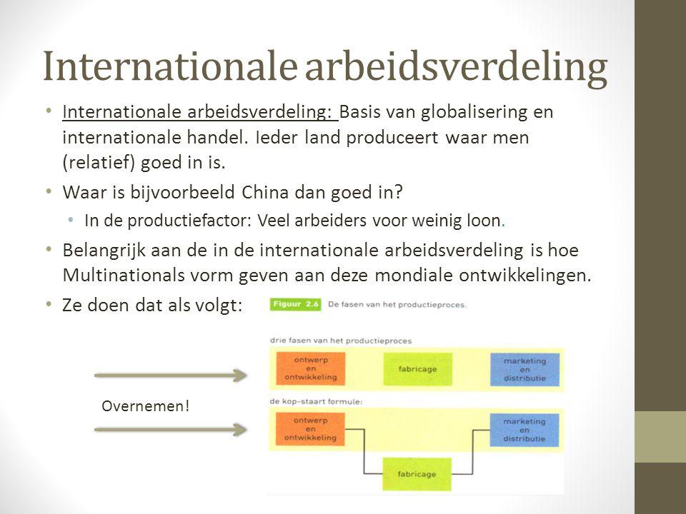 Global shift Verandering in handelsstromen door globalisering.