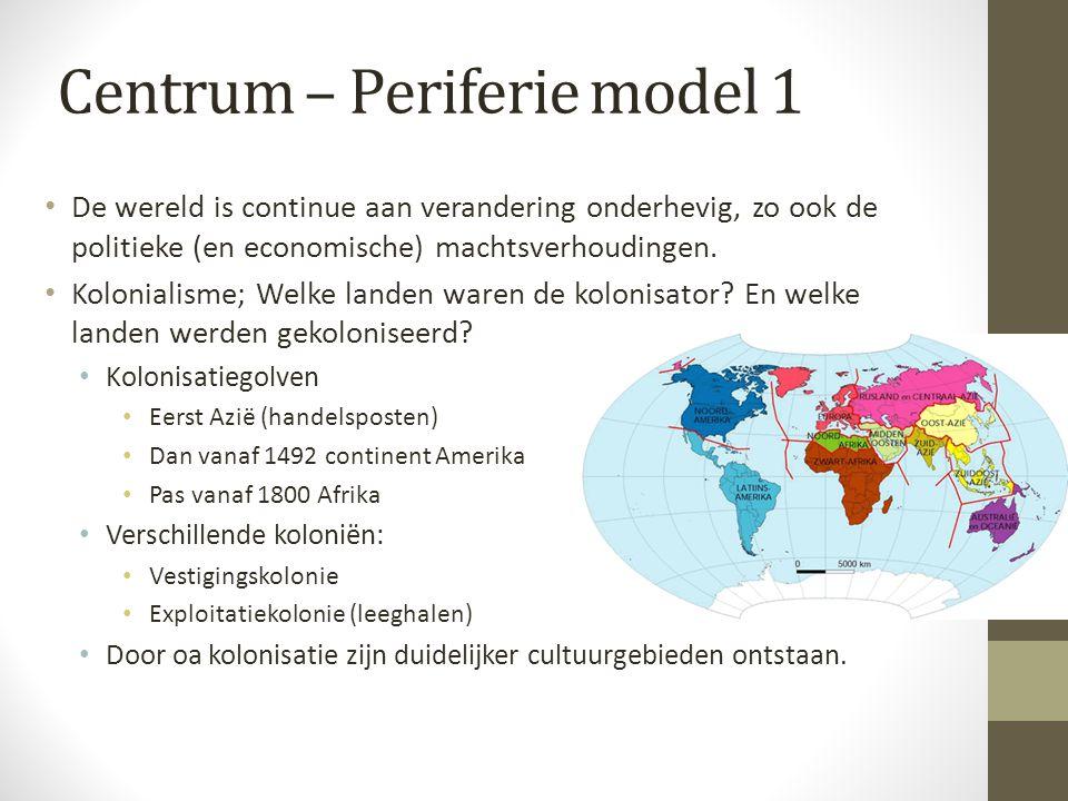 Centrum – Periferie model 1 De wereld is continue aan verandering onderhevig, zo ook de politieke (en economische) machtsverhoudingen.