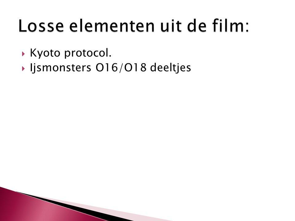  Kyoto protocol.  Ijsmonsters O16/O18 deeltjes
