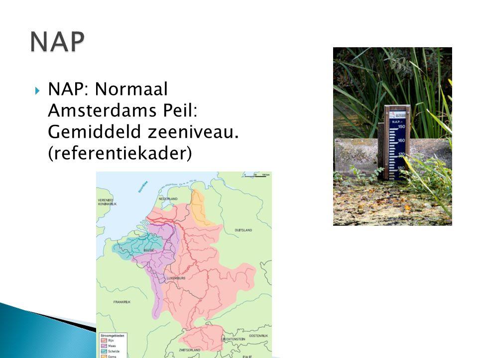  NAP: Normaal Amsterdams Peil: Gemiddeld zeeniveau. (referentiekader)
