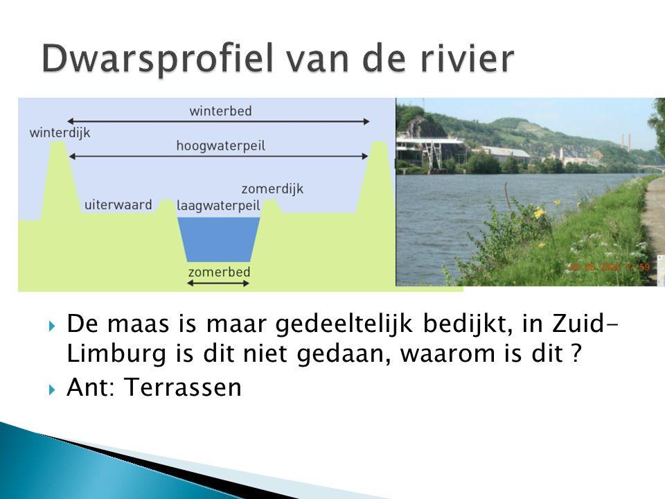  De maas is maar gedeeltelijk bedijkt, in Zuid- Limburg is dit niet gedaan, waarom is dit ?  Ant: Terrassen