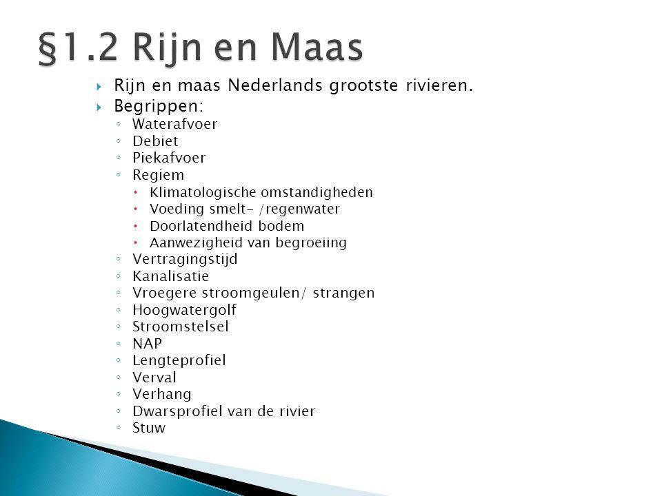  Rijn en maas Nederlands grootste rivieren.  Begrippen: ◦ Waterafvoer ◦ Debiet ◦ Piekafvoer ◦ Regiem  Klimatologische omstandigheden  Voeding smel